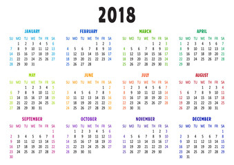 Calendar 2018, template. Vector illustration