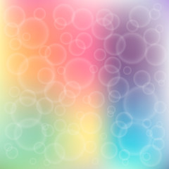 Rainbow bokeh. Colorful background with bubbles. Design template. Vector illustration.