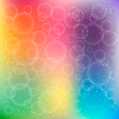Rainbow bokeh. Colorful background with bubbles and sparkling particles. Design template for your projects. Vector illustration.