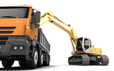 Composition of hydraulic Excavator loading dump truck. 3d illustration. Front view. Isolated on white