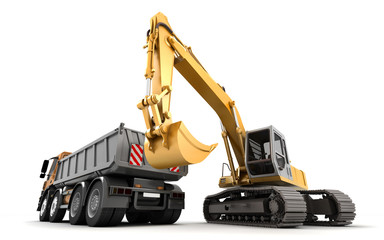 Composition of hydraulic Excavator and dump truck with buckets at foreground. 3d illustration. Isolated on white