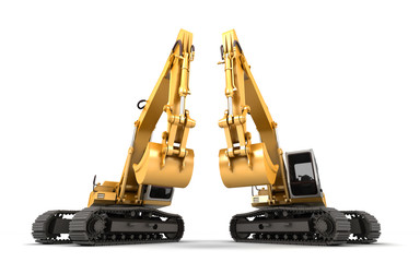 Composition of two hydraulic Excavator with buckets at foreground. 3d illustration. Front view. Isolated on white