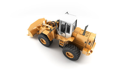 Yellow hydraulic loader isolated on white. Right to left direction. 3D illustration. View from above