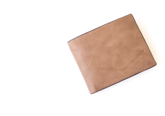 Closeup top view brown leather wallet for men on white background, fashion and business concept