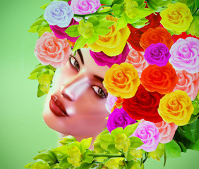Summer's beauty which is captured upon a divine face that's framed by an array of exotic roses and matching chic makeup in shades of pink,yellow,green and orange, digital art render.