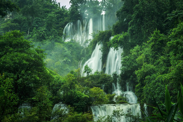 waterfall in the forest of thailand named tee lor su waterfall