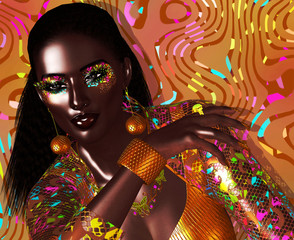 Avant garde fashion and beauty scene in our unique 3d digital art render. Stunningly beautiful black woman, glowing with confidence.