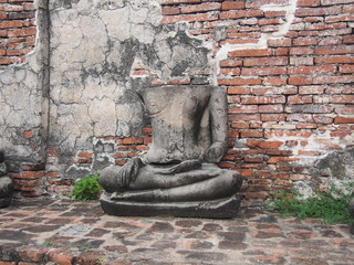 Headless Buddha statues in Wat Mahathat, Ayutthaya, Thailand