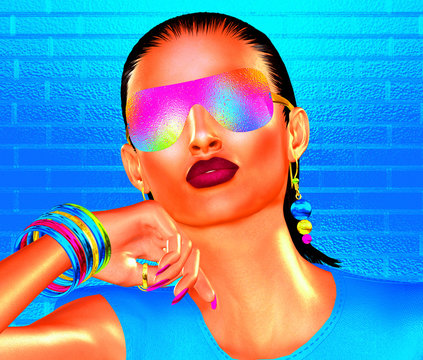 Sexy Summer party girl with brunette hair, sunglasses and matching accessories that come together to create this high energy, beauty and fashion mage. 3d rendered model, digital art.