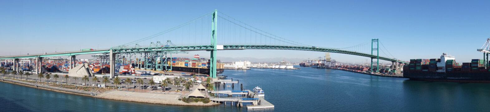 Panorama of freeway suspension bridge and Long Beach port