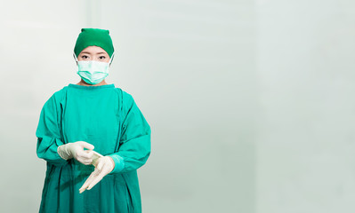 Doctor or nurse wearing sterile glove before make a surgery or treatment.