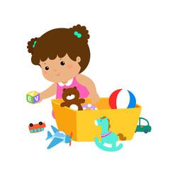 Illustration of kid girl storing toys.