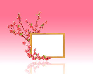 Wooden Picture Frame with Cherry Blossom Decor, Copy Space for Text or Picture, Clipping Path