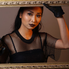 Asian Long Black Hair with see through dress gloves fashion make up