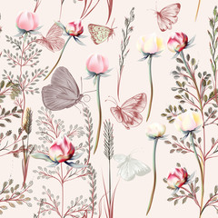 Flower vector pattern with plants. Vintage provance style