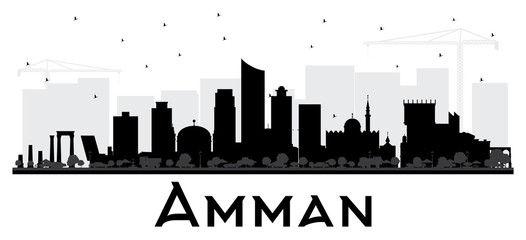 Amman Jordan City Skyline Black and White Silhouette.