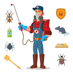 Pest Control Vector. Prevention From Infection, Microbes. Protective Clothes. Anti Germs. Exterminator. Spraying Pesticide. Isolated Flat Cartoon Character Illustration