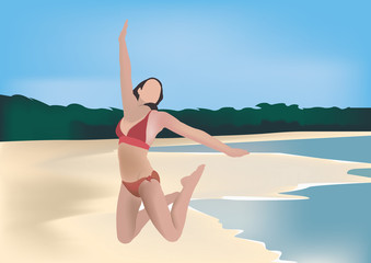 ragazza in costume che salta al mare