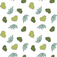 Seamless pattern with cartoon cactuses. Background for design branding, textile, advertising. Vector illustration.