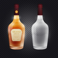 Template realistic glass brandy, cognac, whiskey or other alcohol bottle with screw cap isolated on transparent background. 3d vector illustration.
