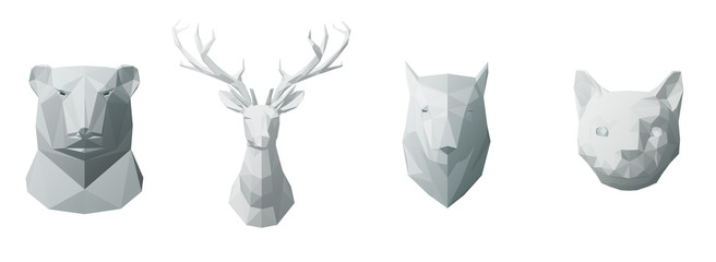 Abstract animals head in geometric low poly style. Bear, wolf, cat, deer. Realistic polygonal 3d vector illustration.