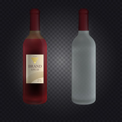 Realistic glass vine bottle with screw cap isolated on transparent background. 3d vector illustration.