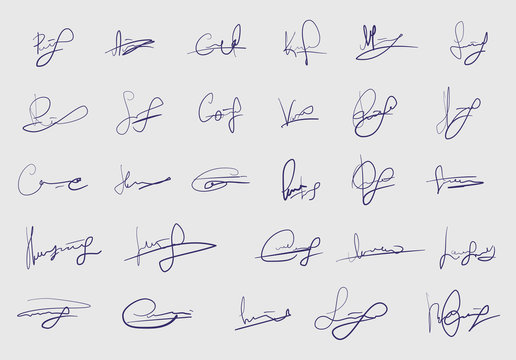 Set of fictitious signature isolated on white background. Template for personal autograph. Abstract vector sketch strokes