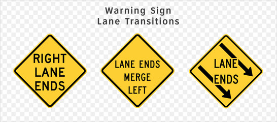 Road sign. Warning. Lane Transitions.  Vector illustration on transparent background