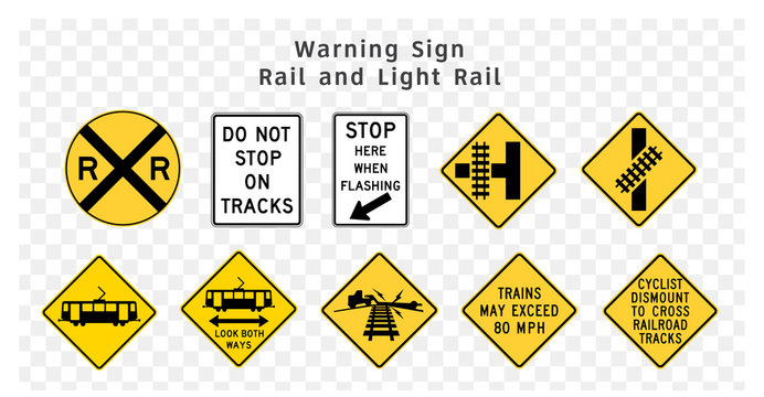 Road sign. Warning. Rail and Light Rail.  Vector illustration on transparent background