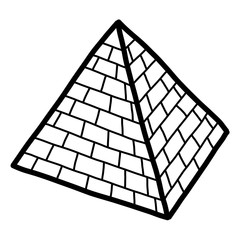 pyramid / cartoon vector and illustration, black and white, hand drawn, sketch style, isolated on white background.
