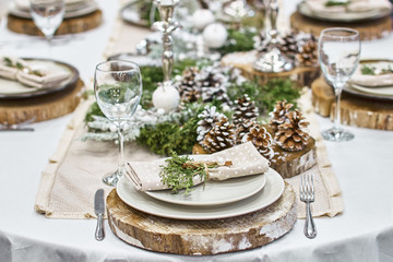 Christmas background with an empty plate. decorations for the New Year's table.
