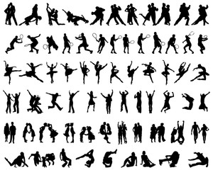 Set of different silhouettes of people  on a white background
