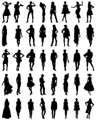 Silhouettes of fashion on a white background