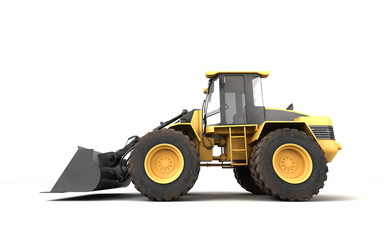 Powerfull concept. Massive yellow hydraulic earth mover isolated on white. Right to left direction. 3D illustration. Left view
