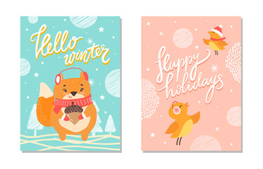 Hello Winter and Happy Holiday Vector Illustration