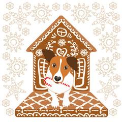 Cute little dog in gingerbread ornate doghouse.  Vector illustration.