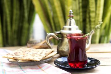 tea time, turkish tea and pie arabic with honey