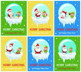 Merry Christmas Santa and Elf Vector Illustration