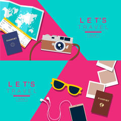 Let's Travel, layout, flat design, vector illustration.