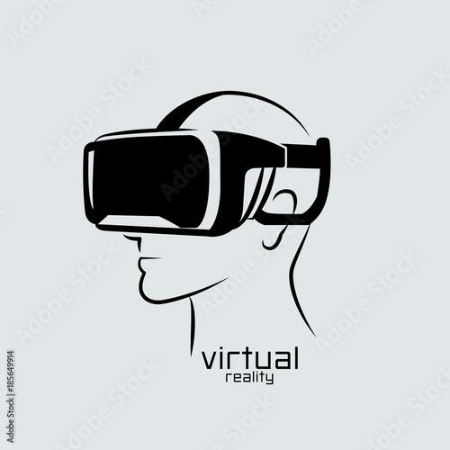 """Virtual reality logo, flat design, vector, icon, black ...  ""Virtual r..."