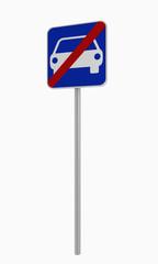 Deutsches Verkehrszeichen: Ende Kraftfahrzeugstraße. Auf weiß isoliert