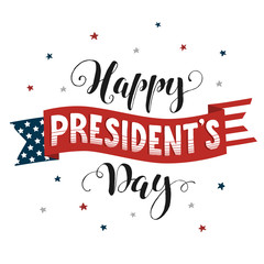Happy Presidents Day text  on american flag isolated on white background. Hand drawn calligraphy. USA President day lettering wiht decorative ribbon.