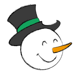Snowman face christmas cartoon icon vector illustration graphic design