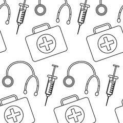 medical syringe stethoscope and kit first aid seamless pattern vector illustration