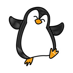 Penguin christmas cartoon icon vector illustration graphic design