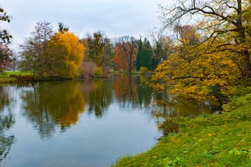 Golden autumn in old park