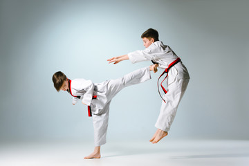 Studio shot of two of kids training karate martial arts
