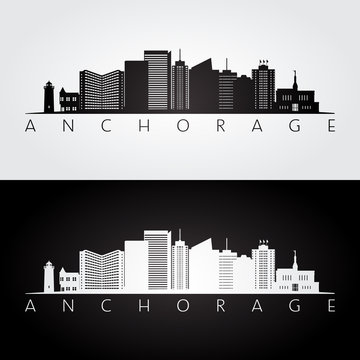 Anchorage usa skyline and landmarks silhouette, black and white design, vector illustration.