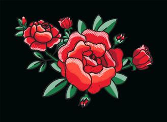 Stylized Red Roses Bush on Vector Illustration