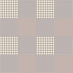 Prince of Wales check pattern in dusty purple and cream. Seamless glen plaid vector print.